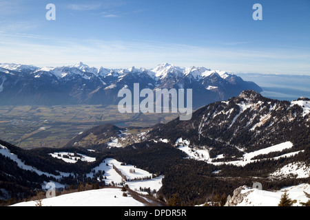 Switzerland Landscape, Swiss Alps in winter looking from La Berneuse, Vaud, across the Rhone Valley towards Valais - Stock Photo