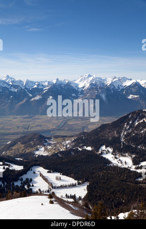 Switzerland, Swiss alps looking from La Berneuse (2048m), Leysin in Vaud, across the Rhone Valley to Valais and - Stock Photo