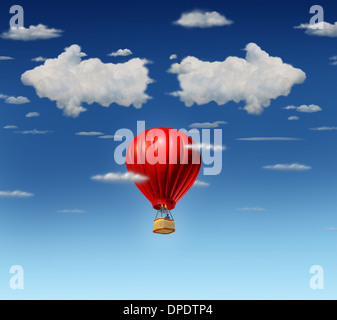 Success choice business concept as a red air balloon with a businessman pilot flying up and facing a difficult direction - Stock Photo
