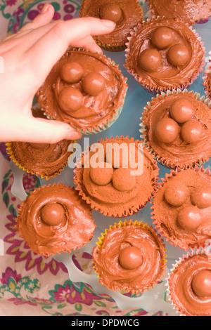 Close up of hand picking up chocolate cupcake - Stock Photo