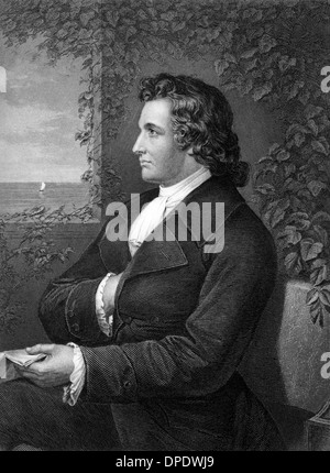 Johann Wolfgang von Goethe (1749-1832) on engraving from 1873. German writer, artist and politician. - Stock Photo