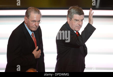 Zurich, Switzerland. 13th Jan, 2014. Former president of the IOC, Jacques Rogge (L), and his successor Thomas Bach - Stock Photo