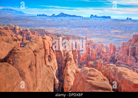 Fiery Furnace seen from above Arches National Park Utah Famous area of labyrinth of canyons and rock fins Window - Stock Photo