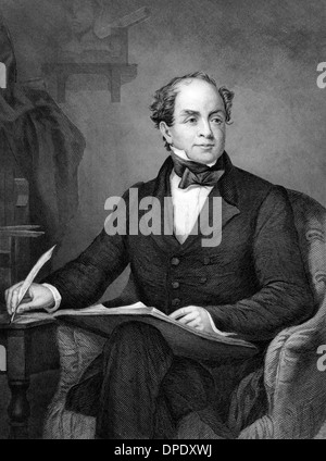 Thomas Moore (1779-1852) on engraving from 1873.  Irish poet, singer, songwriter and entertainer. - Stock Photo