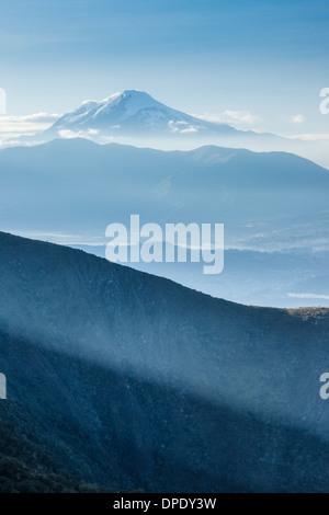 Cayembe volcano from Cotacachi volcano, Otavalo, Ecuador - Stock Photo