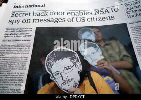 Edward Snowden article in Guardian newspaper 'Secret back door enables NSA to spy on messages of US citizens' London - Stock Photo