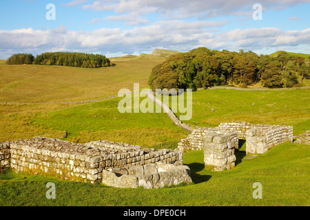 Housteads Roman Fort Gate House on Hadrian's Wall National Trail, Northumberland England United Kingdom Great Britain - Stock Photo