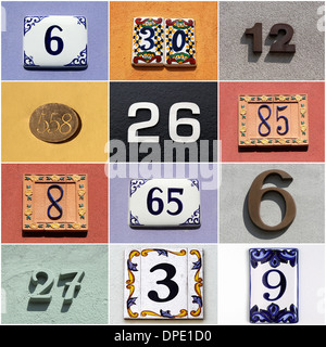 collection of colorful house numbers - Stock Photo