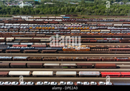 View of freight and railways, Munich, Bavaria, Germany - Stock Photo