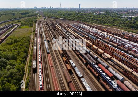 View of rail lines and freight, Munich, Bavaria, Germany - Stock Photo