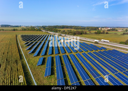 View of solar power panels, Munich, Bavaria, Germany - Stock Photo