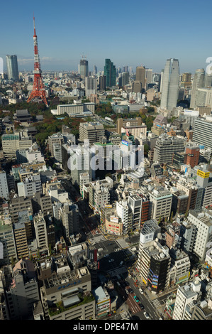 Cityscape of Tokyo showing the red Tokyo Tower, seen from the Observation Deck of the World Trade Center, Tokyo, - Stock Photo