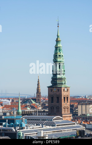 View towards Nikolaj Church and Church of Our Saviour from the Round Tower, Copenhagen, Denmark - Stock Photo