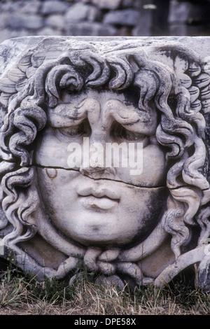 Portrait of goddess Medusa in temple of Apollo in Didyma Turkey - Stock Photo