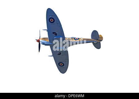 Cutout of Tandem Supermarine Spitfire Trainer - British and allied WWII Fighter Plane - Stock Photo