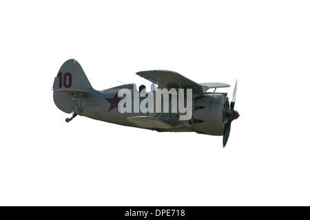 Cutout of Polikarpov I-153 Biplane - Russian WWII fighter plane - Stock Photo