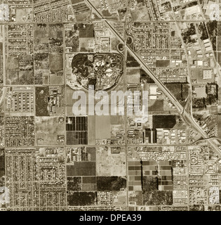 historical aerial photograph Disneyland Park, Anaheim, California, 1963 - Stock Photo