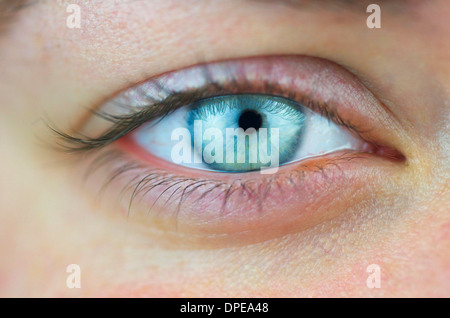 Close up of a females right eye with no make up. - Stock Photo