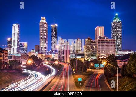 Atlanta, Georgia, USA skyline over Freedom Parkway. - Stock Photo