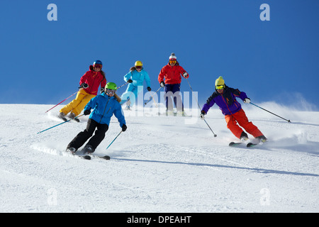 Group of friends skiing in Kuhtai ,Tirol, Austria - Stock Photo
