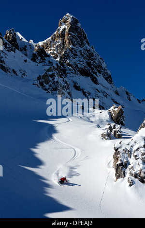 Man skiing in Davos, Switzerland - Stock Photo