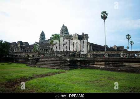 A view of Angkor Wat, Cambodia.  Angkor Wat is the largest religious monument in the world. - Stock Photo