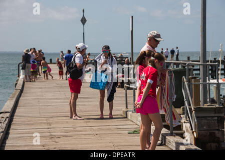 Melbourne, Australia. 14th January 2014. Temperatures of 43 C recorded this afternoon 14/1/2014 searing heatwave - Stock Photo