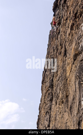 Freeclimbing, Elbe Sandstone Mountains, Germany, Europe - Stock Photo