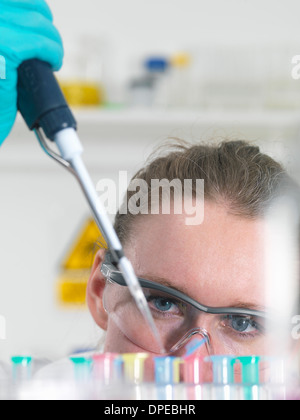 Scientist pipetting sample into an eppendorf vial in laboratory - Stock Photo
