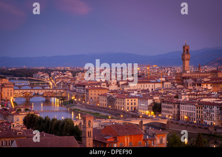 Daybreak over Florence and River Arno, Tuscany, Italy - Stock Photo