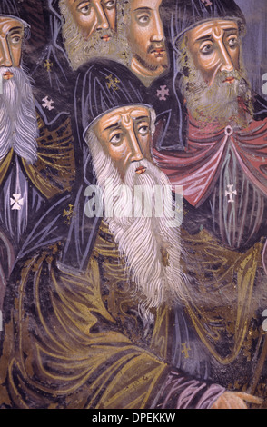 Fresco or Wall Painting of Greek Orthodox Monk in Religious Dress Great Lavra Monastery Mount Athos Greece - Stock Photo