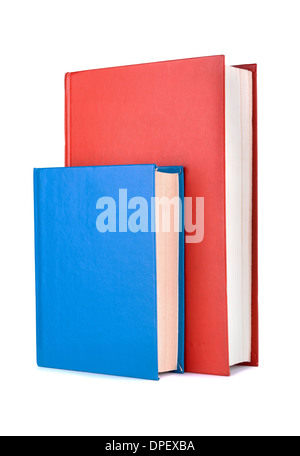 Books red and blue on a white background - Stock Photo