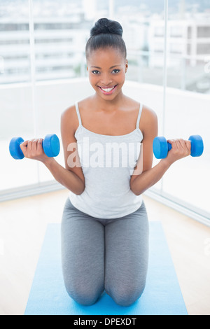 Fit woman sitting on exercise mat and working out with dumbbells - Stock Photo