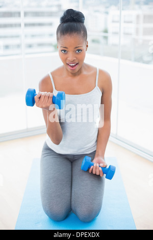 Fit woman in sportswear sitting on exercise mat and working out wiht dumbbell - Stock Photo
