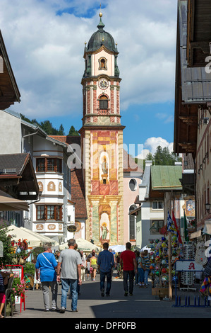 Bell tower of the parish church of St. Peter and Paul with Lüftlmalerei, Mittenwald, Werdenfelser Land, Upper Bavaria, - Stock Photo