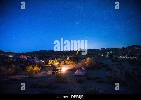 Camping site at night, Joshua Tree National Park, California, USA - Stock Photo