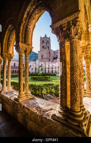 Monreale Cathedral (Duomo di Monreale), columns in the courtyard gardens, Monreale, near Palermo, Sicily, Italy, - Stock Photo
