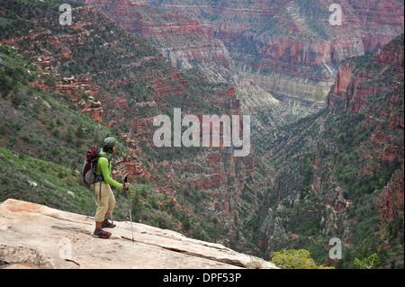 Female backpacker viewing Grand Canyon, Flagstaff, Arizona, USA - Stock Photo