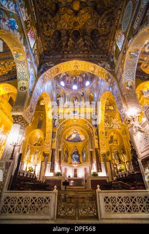 Gold mosaics in the Palatine Chapel (Royal Chapel) at the Royal Palace of Palermo (Palazzo Reale), Palermo, Sicily, - Stock Photo