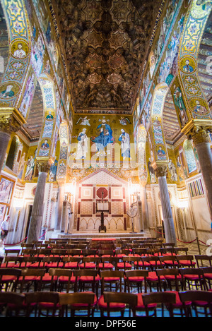 Royal Chapel (Palatine Chapel) (Cappella Palatina) at the Royal Palace of Palermo (Palazzo Reale), Palermo, Sicily, - Stock Photo