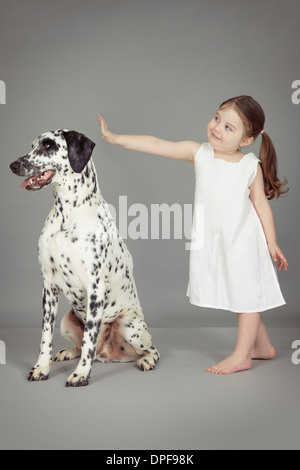 Studio portrait of female toddler and dalmatian dog - Stock Photo