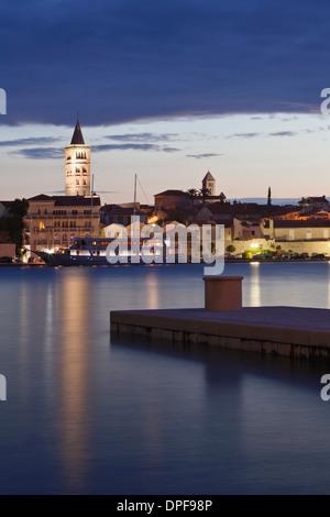 Old town of Rab at dusk, Rab town, Rab Island, Kvarner region, Dalmatia, Adriatic Sea, Croatia, Europe - Stock Photo