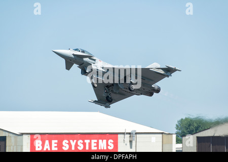 Italian Air Force Eurofighter EF2000 Typhoon multi role fighter jet takes off to display at the 2013 RIAT - Stock Photo