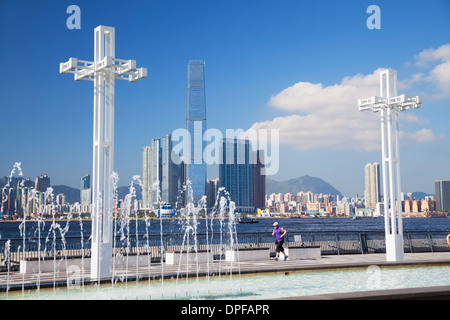 International Commerce Centre (ICC) from Sun Yat Sen Memorial Park, Hong Kong, China, Asia - Stock Photo
