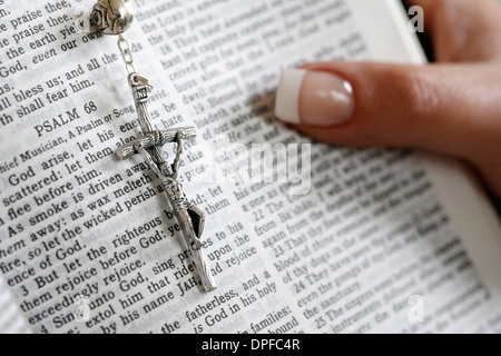 Reading Psalms in the Bible, Paris, France, Europe - Stock Photo
