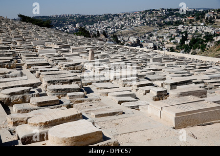 Gravestones among the 150,000 graves in the Jewish Cemetery on the Mount of Olives, Jerusalem, Israel, Middle East - Stock Photo