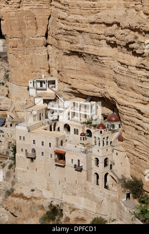 Greek Orthodox St. George of Koziba Monastery on the slope of Wadi Qelt, Judean Desert, Israel, Middle East - Stock Photo