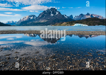 Lago Grey lake in the Torres del Paine National Park, Patagonia, Chile, South America - Stock Photo