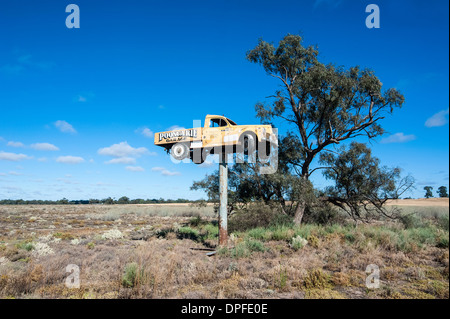 Old truck on a huge pole in the Mungo National Park, part of  the Willandra Lakes Region, UNESCO Site, Victoria, Australia