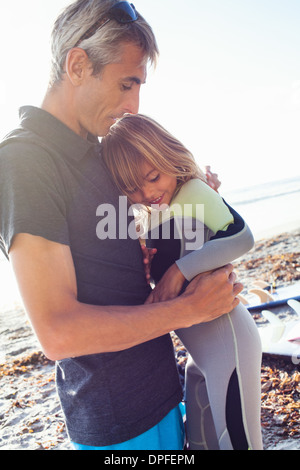 Father and daughter on beach, Encinitas, California, USA - Stock Photo